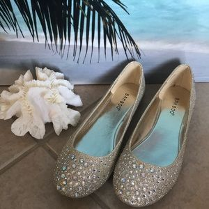 'Bamboo' Gold Flats with Sparkly Stones
